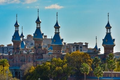 University of Tampa's Plant Hall's minarets with tropical foliage