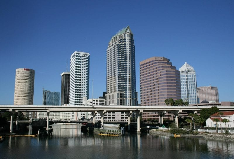 Bridge in front of Downtown Tampa, Florida on the river near the riverwalk