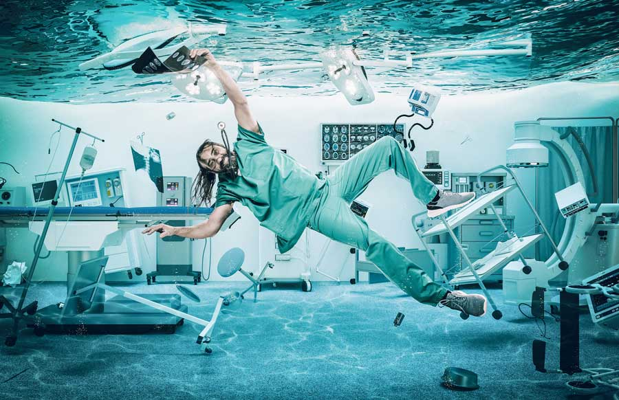 nurse floating in surgery room
