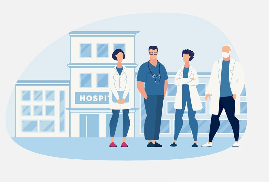 illustration nurses with authority standing outside hospital together