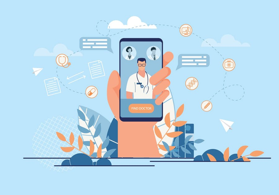 illustration of hand holding telemedicine service with doctor on video call